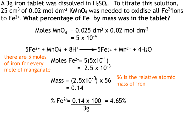 calulations with redox titrations