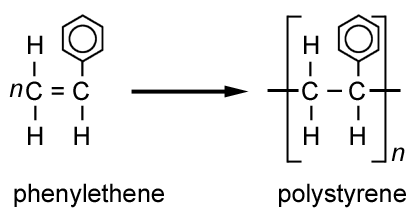 addition polymerisation of phenylethene to form polyethene