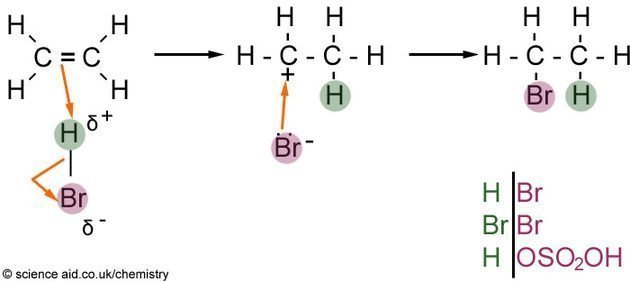 electrophillic addition onto alkenes