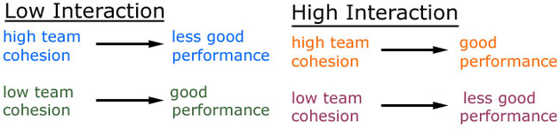 relationship between cohesion and low or high interaction sports